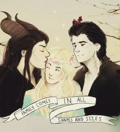 Faery Family for Aurora Malificent movie - inspiration. Diaval is either a father figure or brother can't decide I can also see Aurora and him as boyfriend and girlfriend there are just so many different ways this family can go but Malificent and Aurora as mother and daughter is just beautiful #adopted family