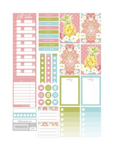 Free Printable Pineapple Sunrise Planner Stickers from Fit Life Creative