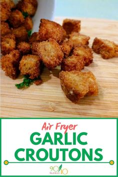 You can also make these Air Fryer Garlic Croutons in the oven at but the air fryer just does an amazing job (and with no preheat). Heart Healthy Recipes, Real Food Recipes, Cooking Recipes, What's Cooking, Bread Recipes, Clean Eating Salate, Air Fryer Recipes Snacks, Food Lists, Clean Eating Recipes