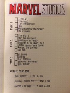 Universe Checklist for Bullet Journal 2018 . - - movies to watch -Marvel Universe Checklist for Bullet Journal 2018 . - - movies to watch - My MCU tracker in my bullet journal Journaling Hacks . Bullet Journal 2018, Bullet Journal Ideas Pages, Bullet Journal Inspo, My Journal, Journal Pages, Bullet Journal Netflix, Bullet Journal Tv Series, Bullet Journal Homework, Bullet Journal For School