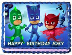 PJ Masks edible cake topper available from DolceCakeToppers Etsy store.