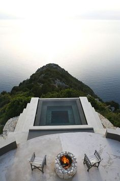 Cliffside minimalistic pool of Villa Althea in Kefalonia #minimalist #design #exteriors #architecture