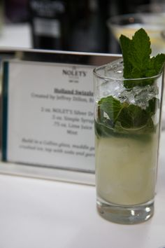 HOLLAND SWIZZLE (created by Jeffrey Dillon, Bathtub Gin)  2 oz. Nolet's Silver Dry Gin .5 oz. Simple Syrup .75 oz. Lime Juice Mint  Directions: Build in a Collins glass, muddle gently, fill with crushed ice, top with soda and garnish with mint.
