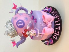 Fancy Nancy teaparty cake!  Everything is edible, even the tiara!