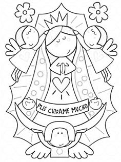 Modern Virgin Of Guadalupe coloring pages virgencita our lady printabled pages Arte Country, Holy Mary, Coloring Book Pages, First Communion, Digital Stamps, Adult Coloring, Embroidery Patterns, Illustration, Marvel