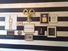 My black and white striped gallery wall is finally complete in my home office. Color palette is black, white and gold with pops of hot pink and yellow. Funky, vintage, modern and glam. A little bit of everything I love. Photos from Made By Girl, some personal, one Givenchy shopping bag and gold ram head (I'm an Aries) from TJ Maxx Homegoods. Frames from Aaron Brothers. Rhinestone necklace from Nordstrom.