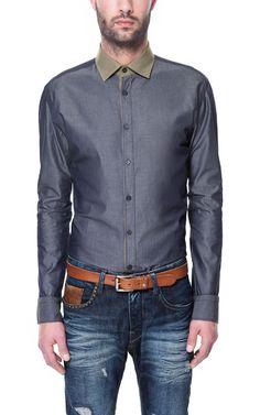 Image 1 of INDIGO SHIRT WITH CONTRASTING COLLAR from Zara