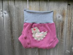Upcycled Cashmere/ Wool Soaker Cover Diaper Cover With Added Doubler Pink/ Gray With Birdy Applique LARGE 12-24M Kidsgogreen