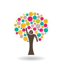 People circle tree vector