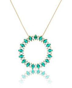 b25baa641ea colar feminino da moda com zirconias verdes semijoias online Cordão De Ouro