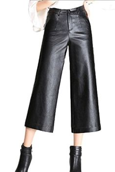 0b0f77704262a Rinalay Leather Trousers Autumn Elegant Winter Ladies Solid Color Wide Leg  Pants with Pockets Nice with