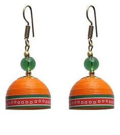 Orange with green trendy quilled jhumkas
