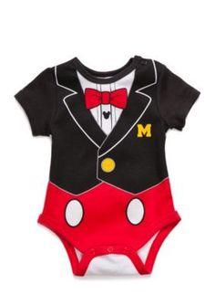 Disney  Tuxedo Print Mickey Mouse Bodysuit