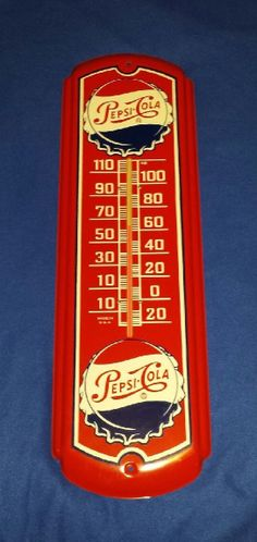 Pepsi Cola Antique Thermometer (Old Vintage 1940 Soda Pop Beverage Advertising Metal Sign)