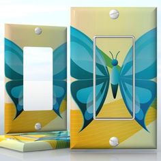 DIY Do It Yourself Home Decor - Easy to apply wall plate wraps | Secret of the Butterfly Blue butterfly on abstract background wallplate skin sticker for 1 Gang Decora LightSwitch | On SALE now only $3.95