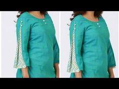 New sleeve design making/very stylish👌design/बहुत ही खूबसूरत और नया बाजू. Kurti Sleeves Design, Kurta Neck Design, Sleeves Designs For Dresses, Churidhar Neck Designs, Sleeve Designs, Blouse Designs, Sewing Sleeves, Kurti Patterns, Dress Indian Style