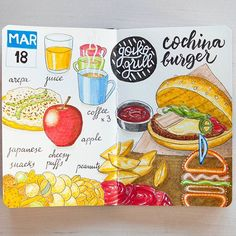 On #day78, arepa with creamcheese for breakfast, a really good burger for lunch at @goikogrill and some snacks ☠ for dinner.  #foodlog #fooddiary #fooddrawing #foodillustration #foodsketch #sketch_daily #sketchbook #fabercastell #moleskine #moleskinichi #foodart #instafood #illustration #sketch #urbansketchers #arepa #burger #theydrawandcook #picame #moleskine_arts #sketchaday #ink #inkdrawing #gastrosketch
