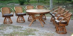 Vintage Brown Jordan Rattan Dining Set with 8 Chairs & Table from Furnish Me Vintage