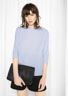 & Other Stories image 2 of Fold Sleeve Cotton Blouse in Blue