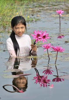 Cambodian girl harvests lilies in pond
