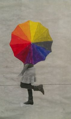 Students mixed their own colors with red, yellow,and blue to create a color wheel umbrella. They then collaged a photo of them onto a grey washed background. grade 4