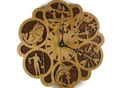 Fishing Themed Wall Hanging Clock Handmade From Oak And Walnut Wood By KevsKrafts by KevsKrafts, $58.97 USD