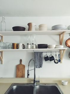 Kitchen styles. Open shelving, black white & wood.