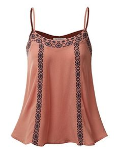 Doublju Sleeveless Embroidered Bohemian Blouse Top DEEPPEACH MEDIUM *** For more information, visit image link.-It is an affiliate link to Amazon.