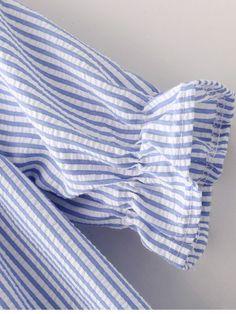 Blue White Stripe Short Sleeve Ruffle Boat Neck Blouse