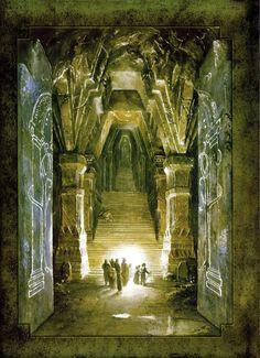 "Moria by Alan Lee ""The world is grey, the mountains old,The forge's fire is ashen-cold;No harp is wrung, no hammer falls:The darkness dwells in Durin's halls;The shadow lies upon his tombIn Moria, in Khazad-dûm.But still the sunken stars appearIn dark and windless Mirrormere;There lies his crown in water deep,Till Durin wakes again from sleep."" — The Song of Durin"