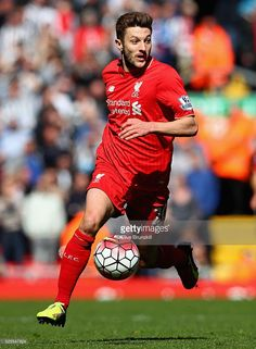 Adam Lallana of Liverpool in action during the Barclays Premier League match between Liverpool and Newcastle United at Anfield on April 23, 2016 in Liverpool, United Kingdom.