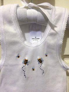 Hand Embroidered White Bee Baby Singlet https://www.etsy.com/au/shop/Wilgaparkcraftcorner