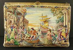 Petit Point Purse Bag Venetian Scenic Figural Venice Handbag. Sold 16/10/13, $1299.