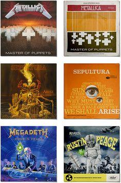 Classic metal albums redesigned by Rafa Melandi as jazz/blues vintage album covers.