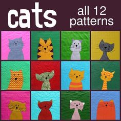 Cats Applique Quilt Pattern Workshop - ***QAYG w Wendi Gratz/Shiny happy world, shows the process of applique and the different types of quilting design done on each block with 11 videos, you can see all the quilting designs