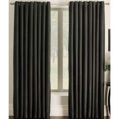 Miller Curtains Ascher Black Grommet Curtain Panel X Multi Polyester Geometric