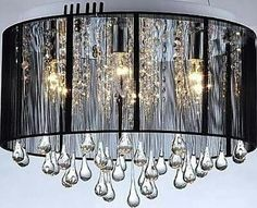 Black drum shade and crystal chandelier