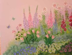 girl garden murals | Garden for a Young Girl - this corner mural fills the space behind the ...