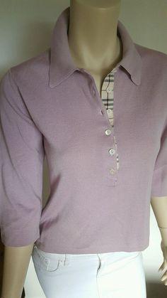 Burberry London Merino Wool Sweater Top Lavender Nova Check Italy * Medium   | eBay
