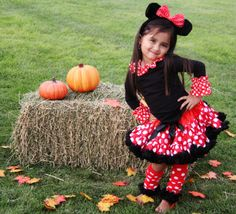 SET- Black Shirt Red Dot Satin Minnie Mouse Costume