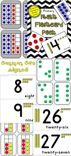This Flashcard Pack is full of cards designed to grow number sense in primary learners! Great for kindergarten and first grade, these cards will supplement your common core curriculum. Includes: ten frames, subitizing, place value, and more! $