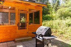 Chalet le Malard en été.Le pavillon de jardin (gazébo) permanent avec le BBQ à l'arrière du Chalet le Malard.