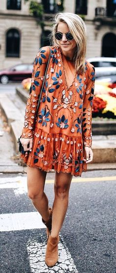 #winter #outfits red and blue floral long-sleeved mini dress with brown suede booties