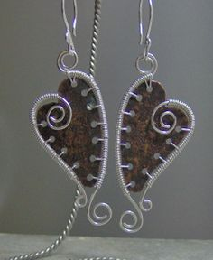 Copper and silverfilled heart earrings by 5DogsDesigns on Etsy, $32.00