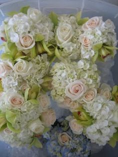heidi's floral design: blue/white hydrangeas, green cymbidium orchids & ivory roses