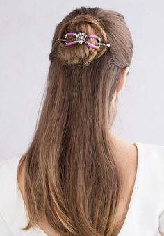 Gorgeous half-up bun hairstyle in a pink flower jelly 8 ~ Vanda ~ Beautiful flexi clips from Lilla Rose make styling your hair fun!