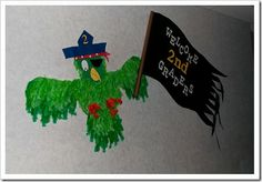 Pirate Parrot for a Welcome Sign! Great for pirate or beach theme! Make using handprints?