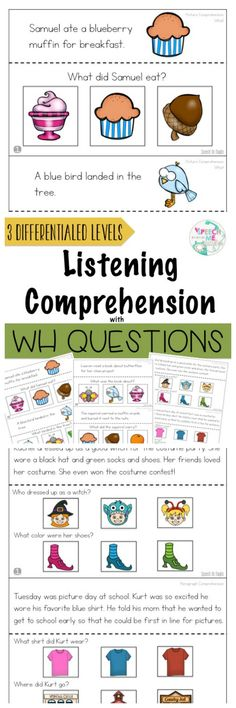 This resource is a comprehensive product to elicit who, what, when, where questions within different levels. Repinned by SOS Inc. Resources pinterest.com/sostherapy/