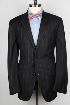 RECENT Polo Ralph Lauren Italy Black Modest Striped Virgin Wool 42 L mens Suit #PoloRalphLauren #TwoButton