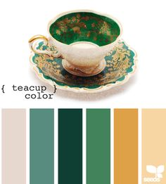 teacup color-such a pretty palette harder to imagine than the pinky/peach ones probably because these colors are so much more bold than pastels...maybe have the green as accent wall..have beigey-white furniture and then dark green and teal accents..with my spray painted antique-gold chandelier?